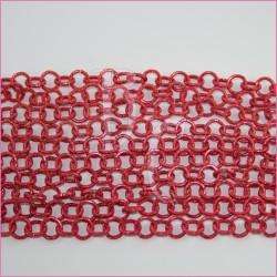 Catena tonda zigr. nido d'ape - satinata 12 mm rosso