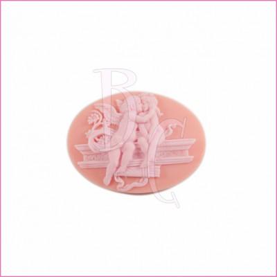 Cammeo in resina angioletti innamorati rosa