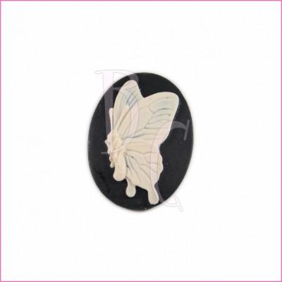 Cammeo in resina farfalla bianca