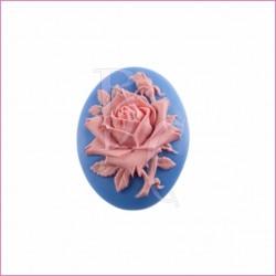 Cammeo in resina fiore rosa