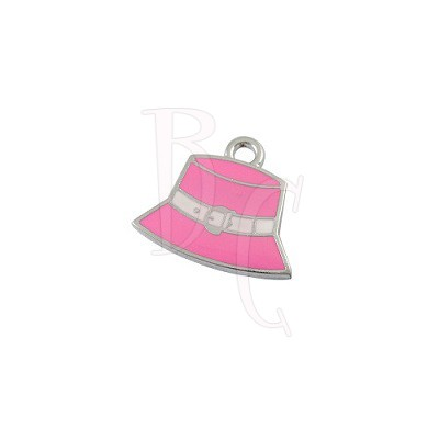 Charms cappellino rosa 23x22 mm