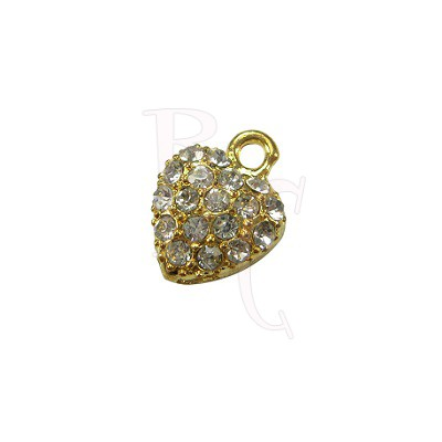 Charms cuore con strass 17x13 mm