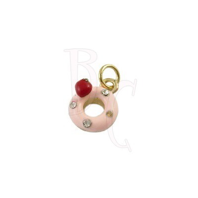 Charms ciambella rosa 18x11 mm