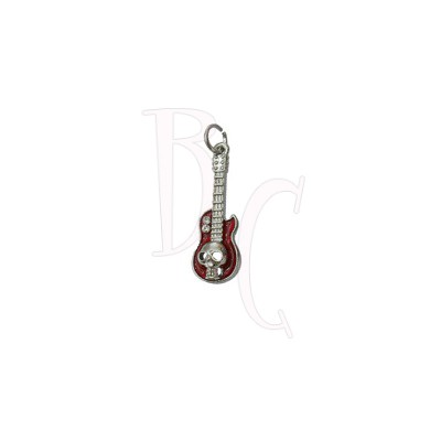 Charms chitarra con teschio rosso 37x11.5 mm