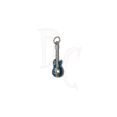 Charms chitarra con teschio blu 37x11.5 mm