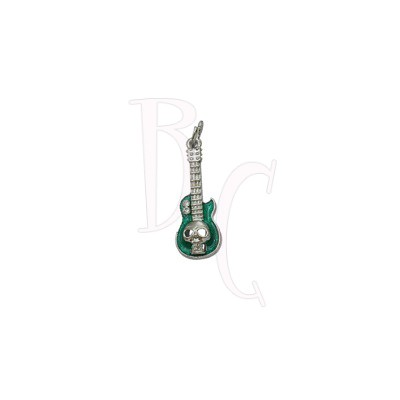 Charms chitarra con teschio verde 37x11.5 mm