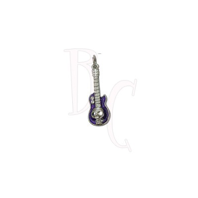 Charms chitarra con teschio viola 37x11.5 mm