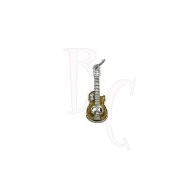 Charms chitarra con teschio giallo 37x11.5 mm