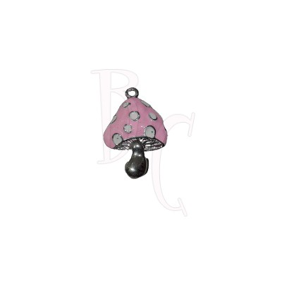 Charms funghetto rosa 27x19 mm