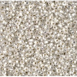 Rocaille 11/0 0001F Matte Silver Lined Crystal 10 gr