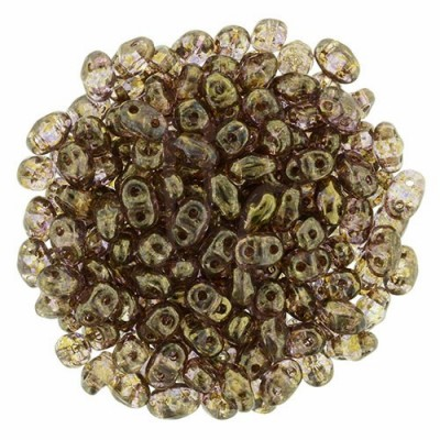Superduo 2,5X5 mm  Luster - Transparent Gold - Smokey Topaz 10 gr